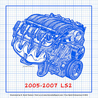 Drawing - 2005 - 2007 Ls2 Corvette Engine Blueprint by K Scott Teeters