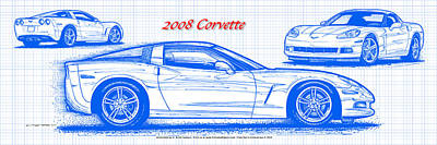 2008 Corvette Blueprint Art Print