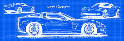 2008 Corvette Reverse Blueprint Art Print