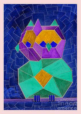 Painting - 2010 Cubist Owl Negative by Lilibeth Andre