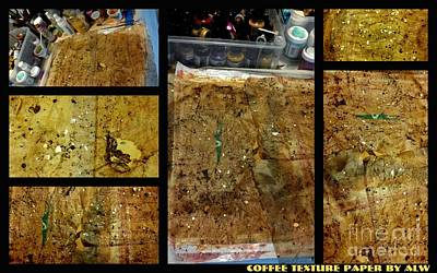 Mixed Media - 2012 Studio Play-coffee Mica Texture Paper by Angela L Walker