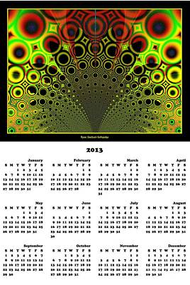 Sun Digital Art - 2013 Funky Fractal Sunrise Calendar by Rose Santuci-Sofranko