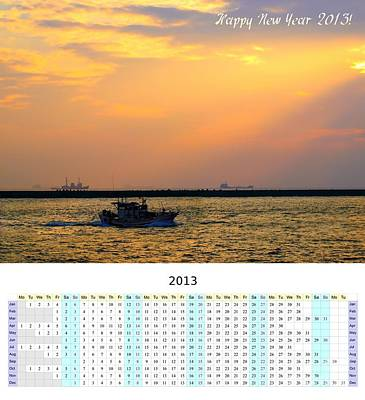 2013 Calendar Photograph - 2013 Wall Calendar With Boats At Sunset by Yali Shi