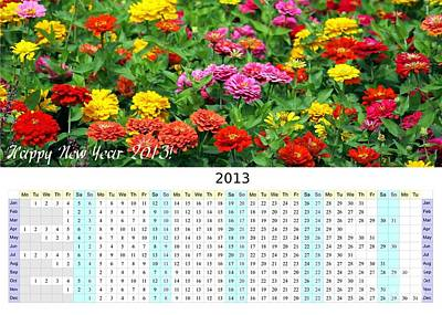 2013 Calendar Photograph - 2013 Wall Calendar With Marigold Flowers by Yali Shi