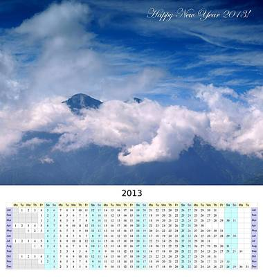 2013 Calendar Photograph - 2013 Wall Calendar With Mountain Peak In The Clouds by Yali Shi