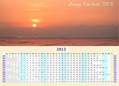 2013 Calendar Photograph - 2013 Wall Calendar With Seaside Sunset by Yali Shi