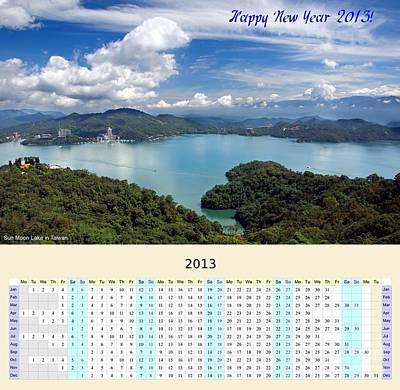 2013 Calendar Photograph - 2013 Wall Calendar With Sun Moon Lake Panorama by Yali Shi