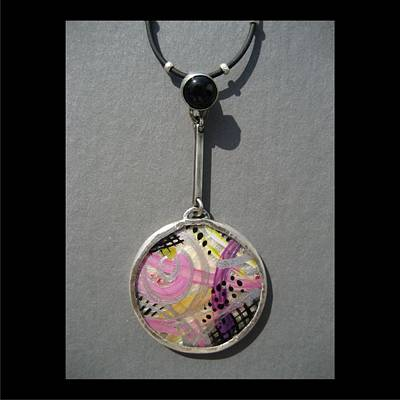 Jewelry - 212 Pink Dangle Abstract by Brenda Berdnik