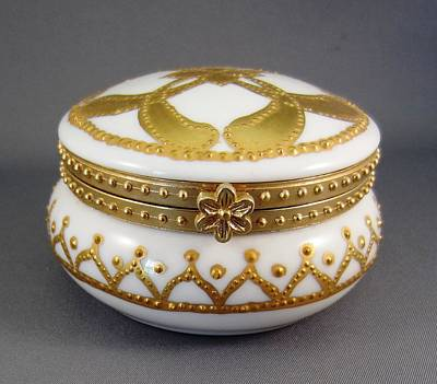 A Hand Mirror Ceramic Art - 214 Mirror-box Raised Paste Gold by Wilma Manhardt