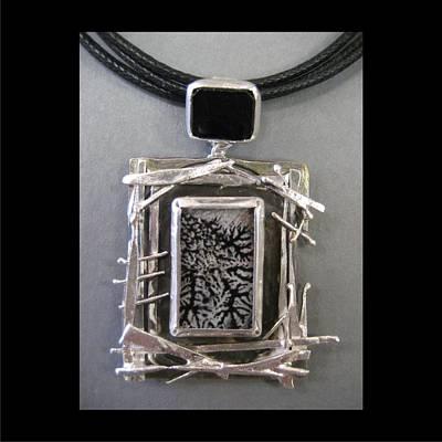 Jewelry - 275 Twig And Stick Ritilated Quartz With Black Onyz by Brenda Berdnik