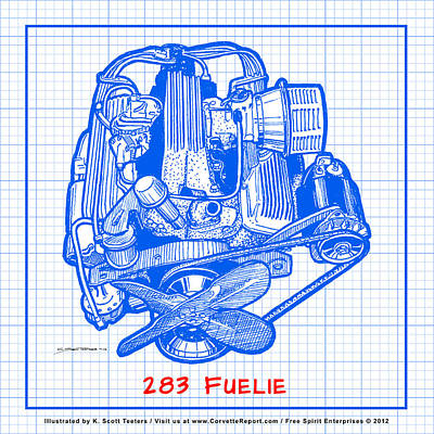 Drawing - 283 Corvette Fuelie Blueprint by K Scott Teeters