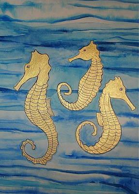 Painting - 24-karat Seahorses by Erika Swartzkopf