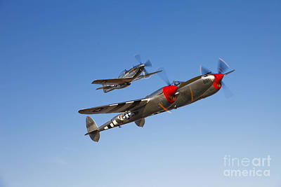 Guns Arms And Weapons - A P-38 Lightning And P-51d Mustang by Scott Germain