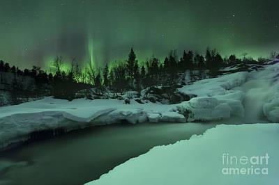 Polaroid Camera - A Wintery Waterfall And Aurora Borealis by Arild Heitmann