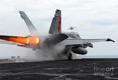 An Fa-18c Hornet Launches Art Print by Stocktrek Images