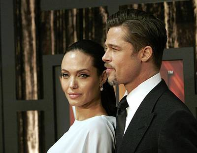 Angelina Jolie, Brad Pitt At Arrivals Art Print