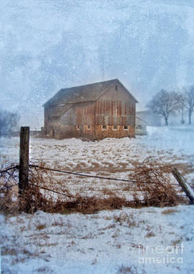 Barn In Winter Art Print by Jill Battaglia