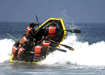 Inflatable Boats Photograph - Basic Underwater Demolitionseal by Stocktrek Images