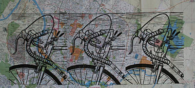 Drawing - Bike 2 On Map by William Cauthern