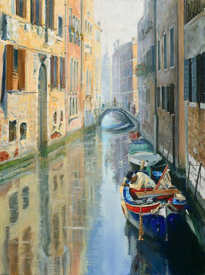 Canals Of Venice  Art Print by Larisa Napoletano