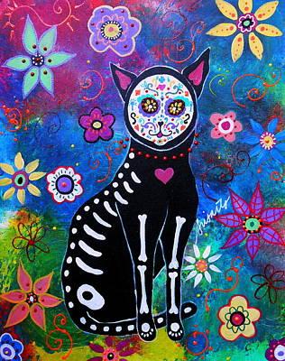 Day Of The Dead Painting - Cat Dia De Los Muertos by Pristine Cartera Turkus