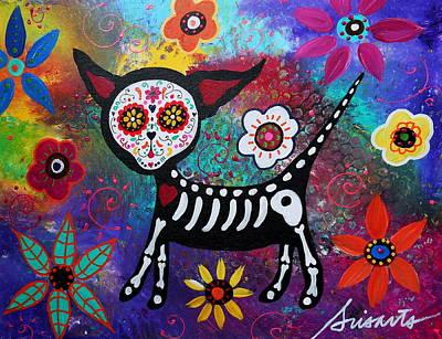 Skull Painting - Chihuahua Dia De Los Muertos by Pristine Cartera Turkus