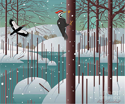 Snowscape Digital Art - Cock Of The Woods by Ken Bloomhorst