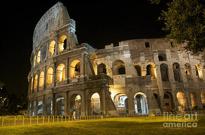 Coliseum Illuminated At Night. Rome Art Print