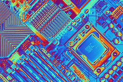 Computer Motherboard With Core I7 Cpu Art Print