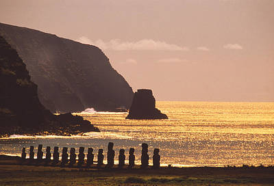 Megalith Photograph - Easter Island Statues by David Nunuk