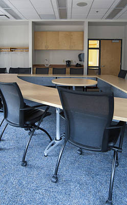 Empty Boardroom Or Meeting Room In An Art Print by Marlene Ford