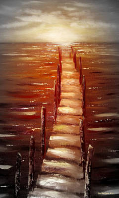 Painting - Escape - Vertical Sunset by Gina De Gorna