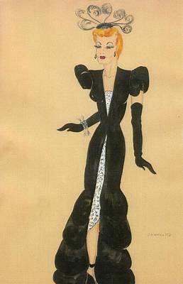 Red Gown Drawing - Fashions Of The 1940s by Yvette Pichette