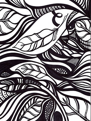 Nature Abstracts Drawing - Feather by HD Connelly