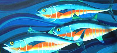 3 Fish School Art Print by Mark Jennings