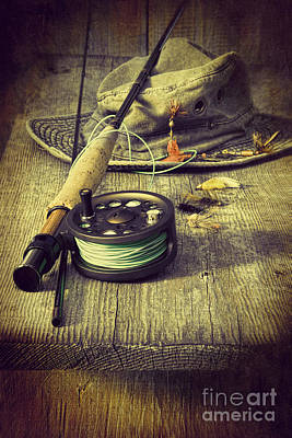 Photograph - Fly Fishing Equipment With Old Hat On Bench by Sandra Cunningham