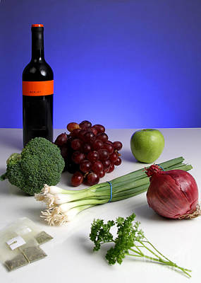 Foods Rich In Quercetin Art Print by Photo Researchers, Inc.