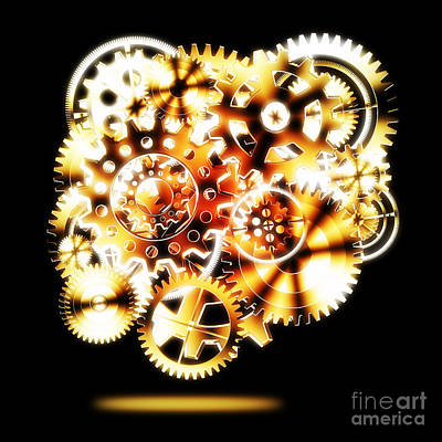 Meshed Photograph - Gears Wheels Design  by Setsiri Silapasuwanchai