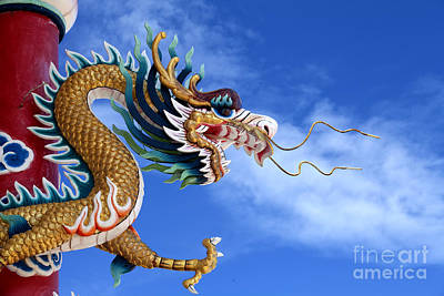 Giant Golden Chinese Dragon Art Print by Anek Suwannaphoom