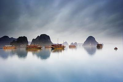 Junk Boat Wall Art - Photograph - Halong Bay, Vietnam by Carson Ganci