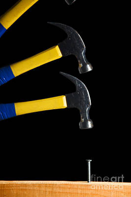 Hammer Striking A Nail Art Print