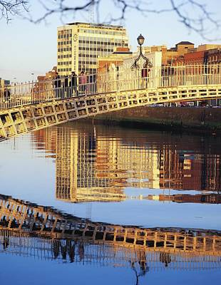Hapenny Bridge, River Liffey, Dublin Art Print by The Irish Image Collection
