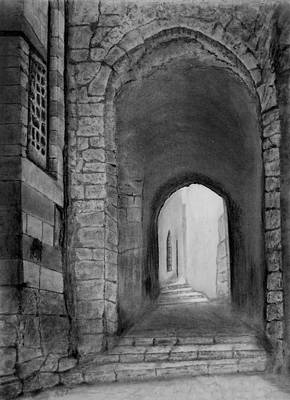 Ancient Drawing - Jerusalem Old Street by Marwan Hasna - Art Beat