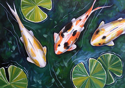 Three Fish Painting - 3 Koi by Amy Giacomelli