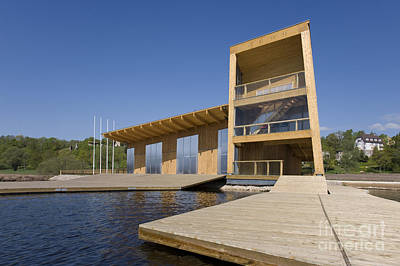 Lakeside Building And Dock Print by Jaak Nilson
