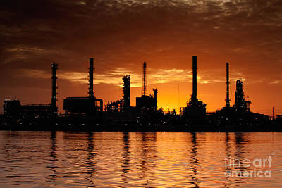 Landscape Of River And Oil Refinery Factory Original