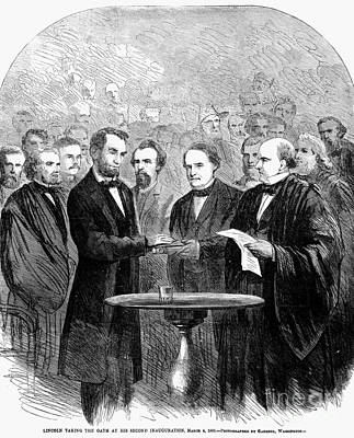 Chief Justice Photograph - Lincolns Inauguration by Granger