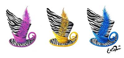 3 Magic Hats Art Print by Oddball Art Co by Lizzy Love