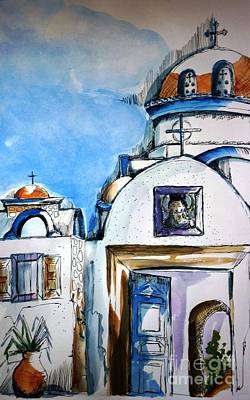 Religious Painting - Monastery Of St Savas by Therese Alcorn