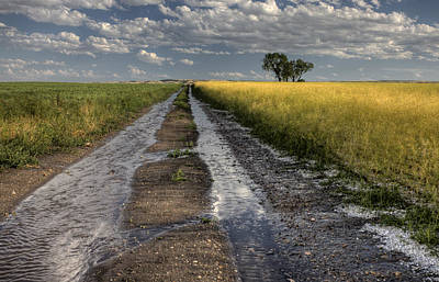 Country Lanes Digital Art - Prairie Road Storm Clouds by Mark Duffy